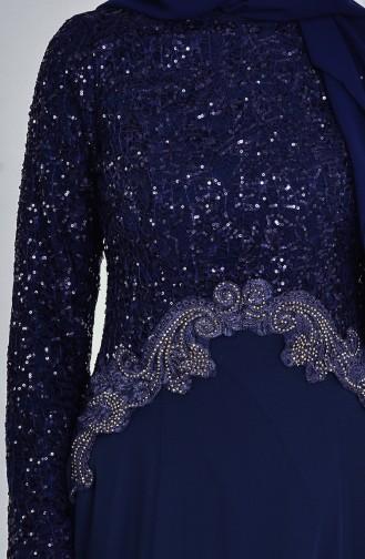 Robe de Soirée a Paillette 52614-01 Bleu Marine 52614-01