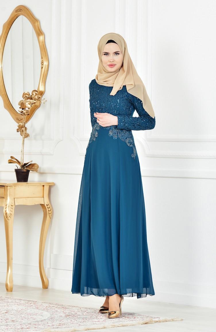 19950e76ebd33 Oil Blue Islamic Clothing Evening Dress 52614-04