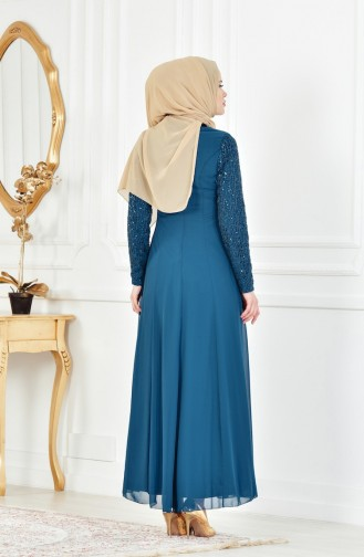 Oil Blue Islamic Clothing Evening Dress 52614-04