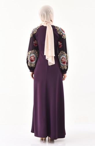 İşlemeli Elbise 2796-02 Mor