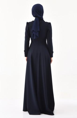 Kemer Detaylı Elbise 1138-02 Lacivert 1138-02