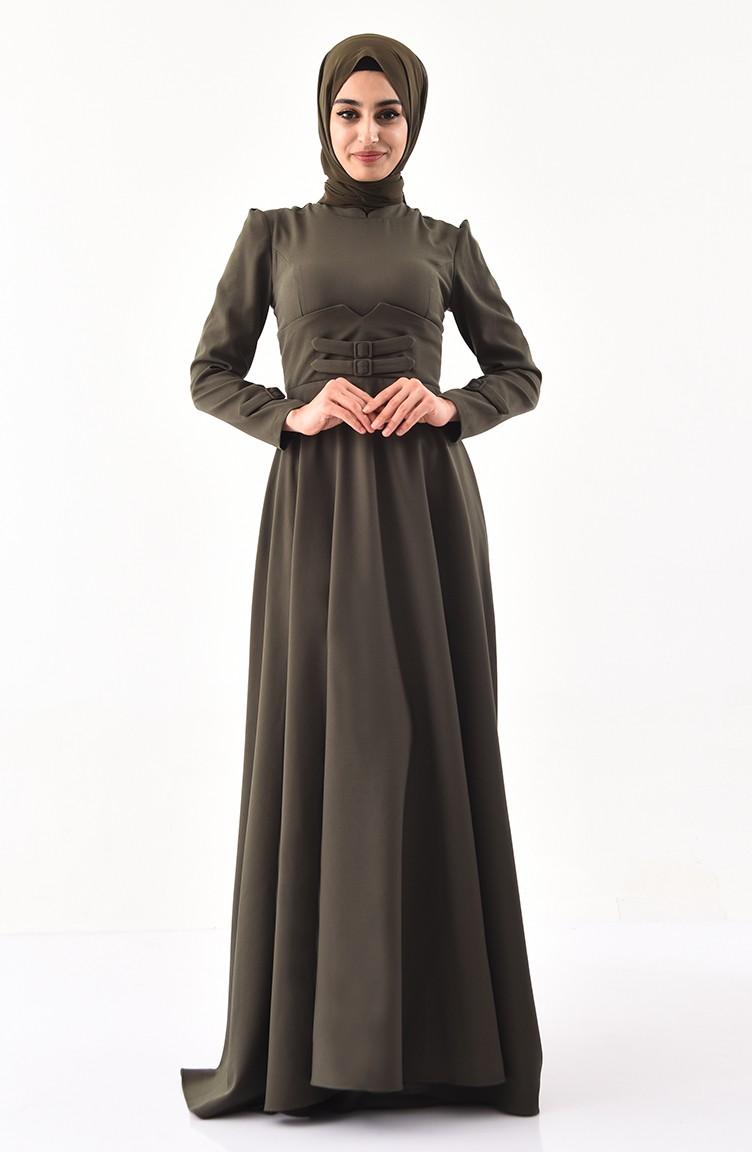 b559869117 Belt Detailed Dress 1138-07 Khaki 1138-07