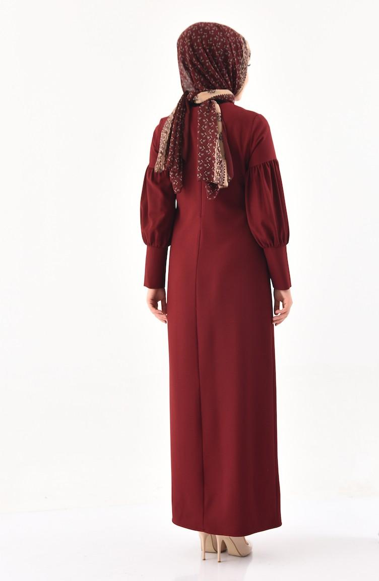 4f771f19f20 Robe avec Collier 1008-03 Bordeaux 1008-03