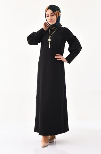 Kolyeli Elbise 1008-05 Siyah