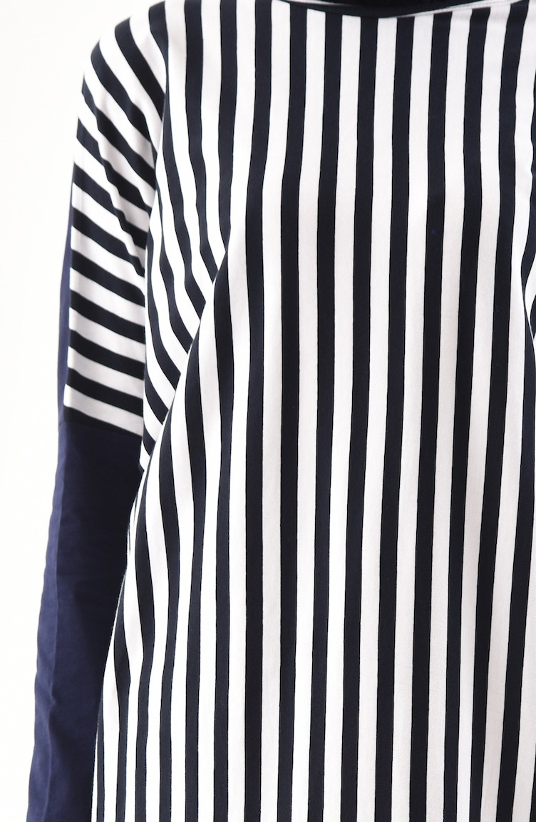 77598298e69 Striped Long Tunic 7808-01 Navy Blue White 7808-01
