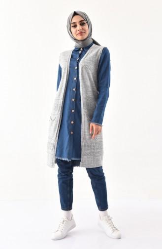 iLMEK Fine Knitwear Pocketed Vest 4124-01 Gray 4124-01