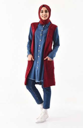 iLMEK Fine Knitwear Pocketed Vest 4124-04 Claret Red 4124-04