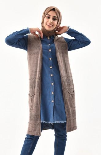 iLMEK Fine Knitwear Pocketed Vest 4124-06 Dark Mink 4124-06