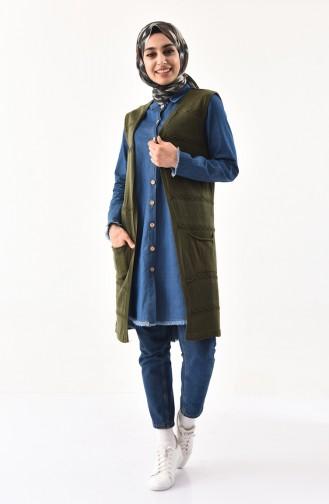 iLMEK Fine Knitwear Pocketed Vest 4124-07 Khaki 4124-07