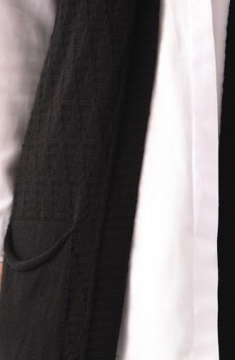 سترة بدون أكمام تريكو بتفاصيل جيوب 8109-08 لون أسود 8109-08
