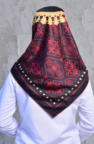 Şerit Desenli Twill Eşarp 901445-01 Bordo 901445-01