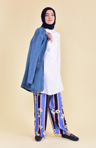 Pantalon Viscose Large a Motifs 0277-01 Bleu 0277-01