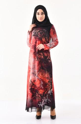 Taş Baskılı Desenli Elbise 99189-03 Mercan