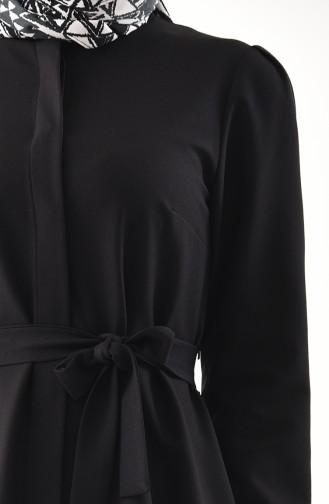 Kuşaklı Tunik Pantolon İkili Takım 0143-04 Siyah
