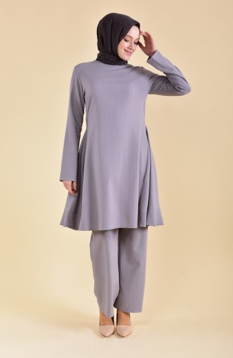 BURUN     Striped Tunic Pants Double Suit 11176-01 Gray 11176-01