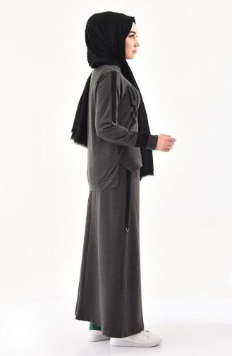 طقم تنورة و بلوز بتصميم مُطبع 8338-01 لون أسود مائل للرمادي 8338-01