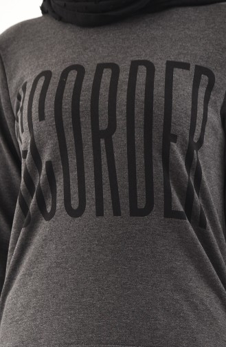 Baskılı Bluz Etek İkili Takım 8338-01 Antrasit