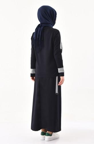Baskılı Bluz Etek İkili Takım 8338-02 Lacivert 8338-02