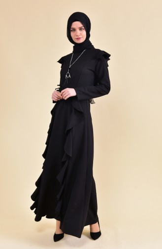 BURUN  Necklace Detailed Flywheel Dress 81685-01 Black 81685-01