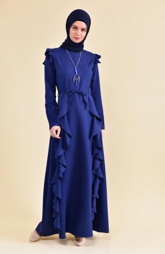 Kolye Detaylı Volanlı Elbise 81685-03 Lacivert