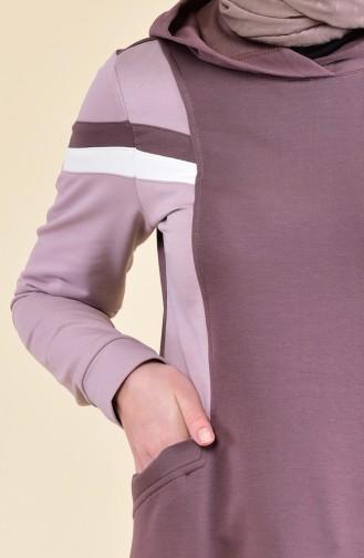 Şeritli Spor Elbise 8316-03 Kahverengi