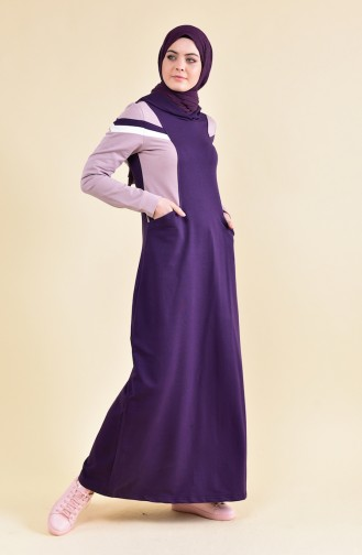 بي وست فستان رياضي بتصميم مخطط 8316-05 لون بنفسجي 8316-05