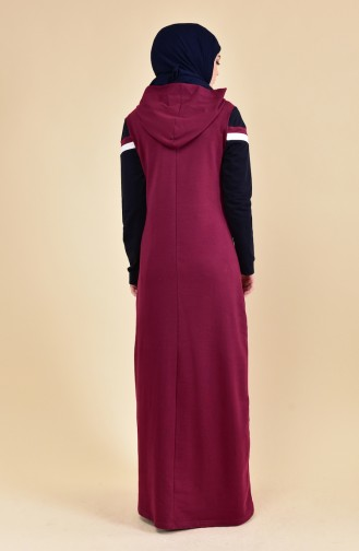بي وست فستان رياضي بتصميم مخطط 8316-06 لون خمري 8316-06