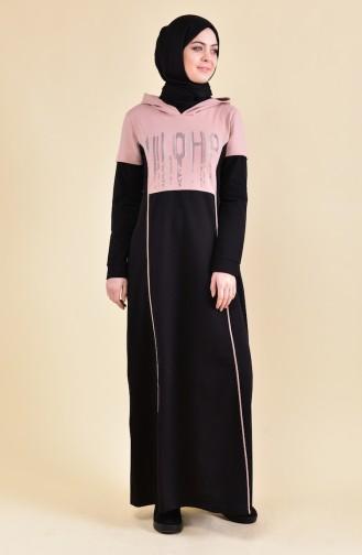 Baskılı Spor Elbise 8357-04 Siyah