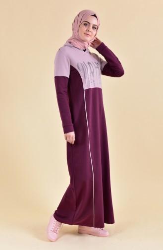 بي وست فستان رياضي بتصميم مُطبع 8357-05 لون ارجواني 8357-05