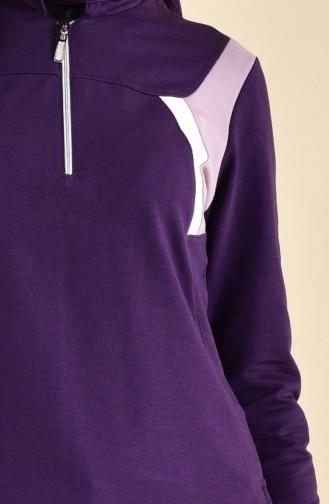 BWEST Zipper Detailed Sports Dress 8373-07 Purple 8373-07