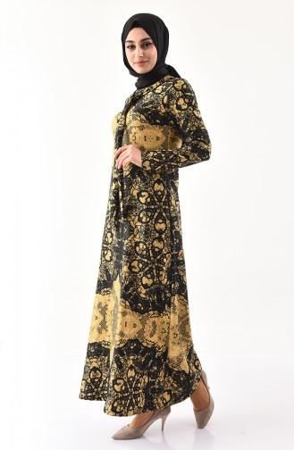 Varak Baskılı Elbise 1119-04 Gold 1119-04