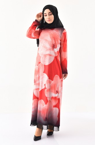 Taş Baskılı Desenli Elbise 99188-01 Mercan