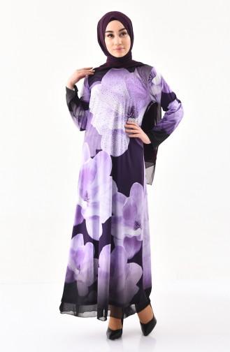 فستان كاجوال بتصميم مُطبع باحجار لامعة 99188-03 لون بنفسجي 99188-03