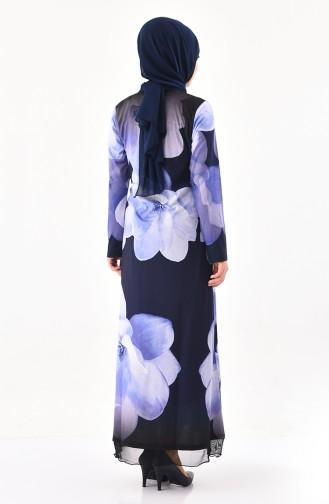فستان كاجوال بتصميم مُطبع باحجار لامعة 99188-04 لون كحلي 99188-04
