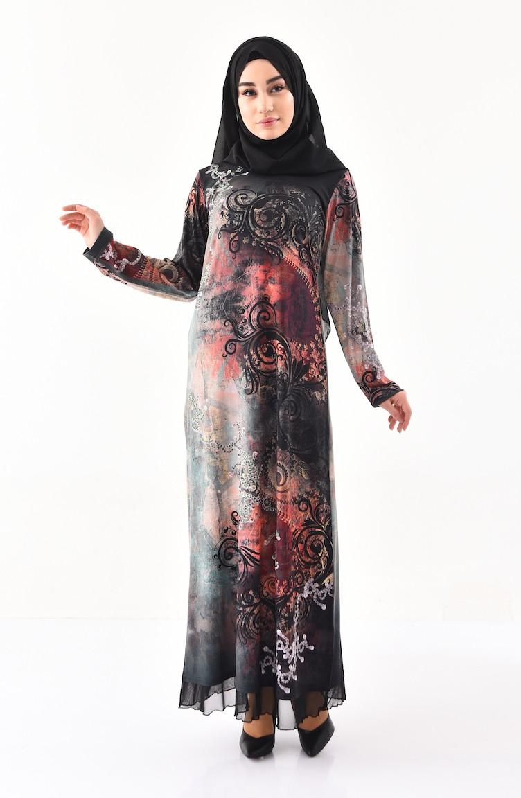 59f656fe9b137 Taş Baskılı Desenli Elbise 99189-01 Haki