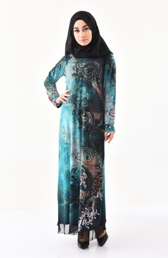 Stone Casual Patterned Dress 99189-04 Green 99189-04