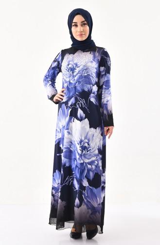 Taş Baskılı Desenli Elbise 99190-01 Lacivert