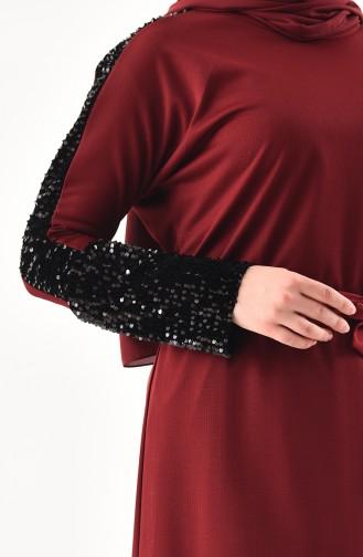Claret Red Hijab Dress 4001-02