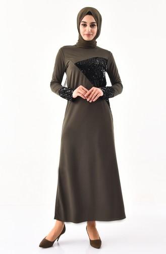 Khaki Hijab Dress 4002-02