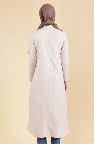 Buttons Detailed Asymmetric Tunic 1281-02 Stone 1281-02