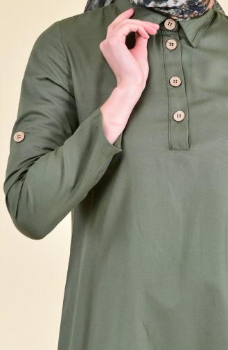تونيك غير متماثل الطول بتفاصيل أزرار 1281-06 لون أخضر كاكي 1281-06