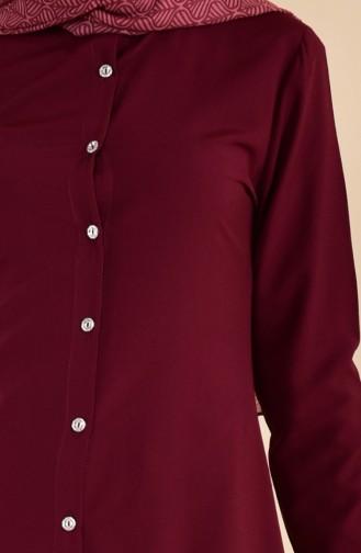 Buttoned Viscose Tunic 3158-05 Cherry 3158-05