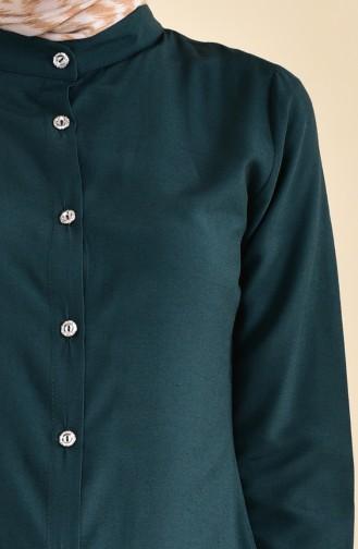 Düğmeli Viskon Tunik 3158-08 Zümrüt Yeşili