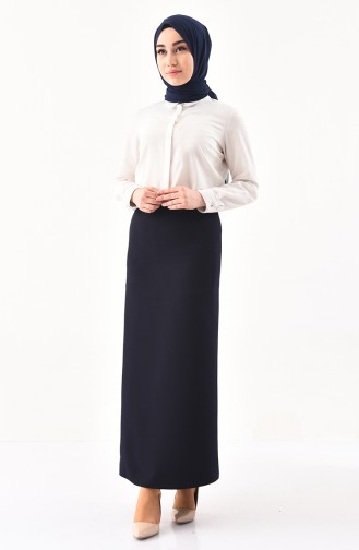 Hidden Zippered Pencil Skirt 0405-01 Navy Blue 0405-01