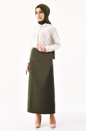 Hidden Zippered Pencil Skirt 0404-03 Khaki 0404-03