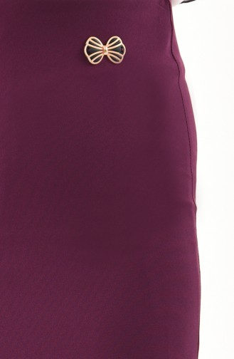 Hidden Zippered Pencil Skirt 0404-05 Plum 0404-05