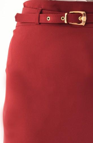 تنورة قصة مستقيمة بتصميم حزام للخصر 0407-02 لون خمري 0407-02