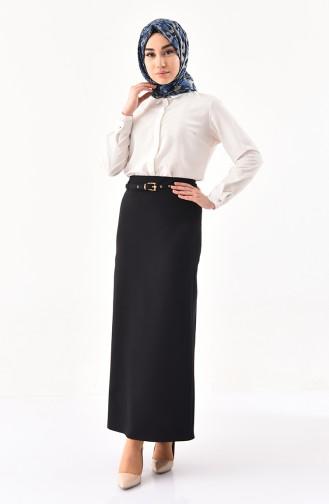 تنورة قصة مستقيمة بتصميم حزام للخصر 0407-03 لون أسود 0407-03