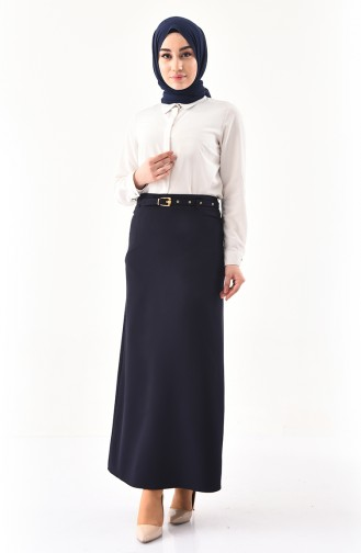 Belted Pencil Skirt 0407-04 Navy Blue 0407-04