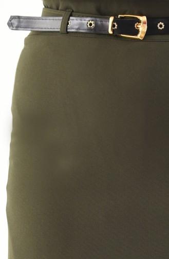 Jupe Crayon a Ceinture 0407-05 Vert Khaki 0407-05